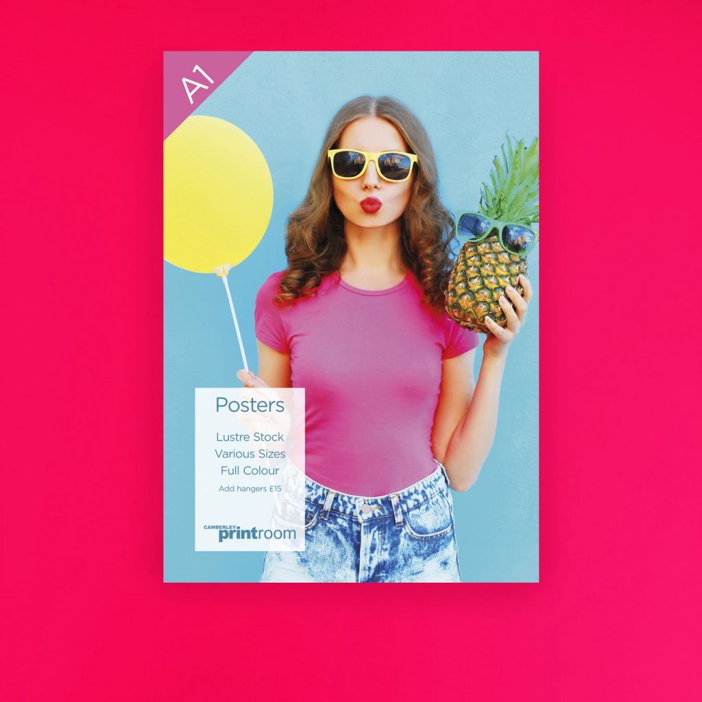 an a1 poster of a lady holding a yellow balloon and a pineapple with sunglasses on