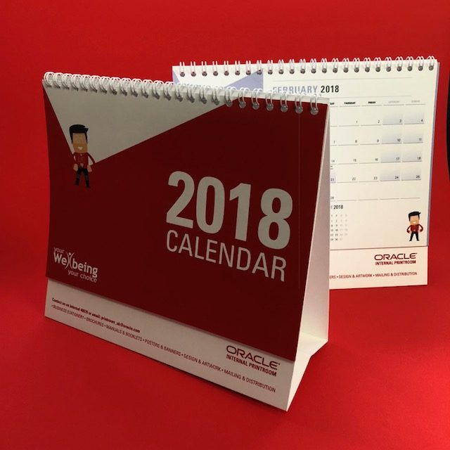 a picture of a printed oracle wellbeing calendar