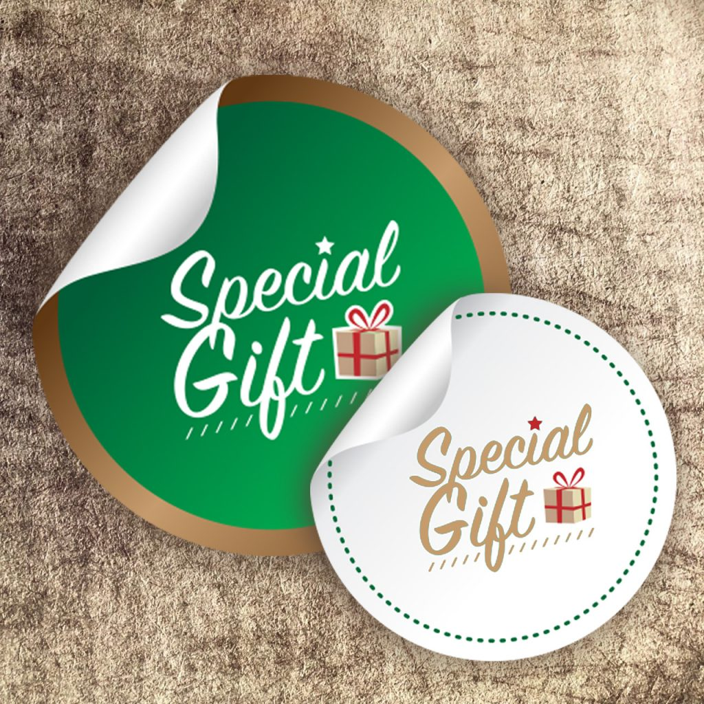 a picture of printed stickers saying special gift
